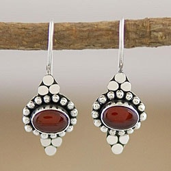 Sterling Silver Carnelian Agate Earrings (Indonesia)