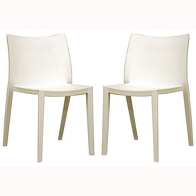 limerick white plastic stackable modern dining chairs set of 2