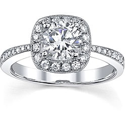 18k Gold 1 1/3ct TDW Diamond Halo Engagement Ring