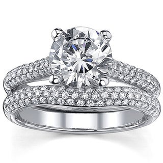 18k Gold 2 1/2ct TDW Round Diamond Micro Pave Bridal Ring Set (I, I1)