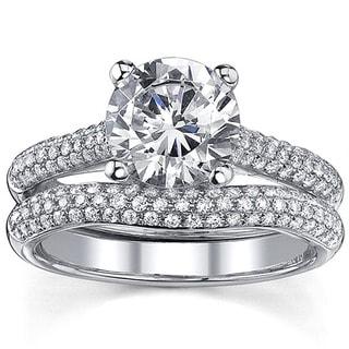 18k Gold 2 1/2ct TDW Round Diamond Micro Pave Bridal Ring Set (I, I1)