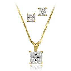 Icz Stonez 18k Gold over Sterling Silver CZ Necklace/ Earrings Set