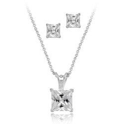 Icz Stonez Sterling Silver CZ Square Solitaire Necklace/ Earring Set