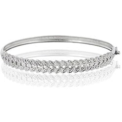 DB Designs Sterling Silver Leaf Design Diamond Accent Bangle