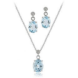 Glitzy Rocks Sterling Silver Blue Topaz and Diamond Necklace and Earring Set