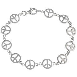 Mondevio Sterling Silver Peace Sign Bracelet