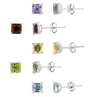 Glitzy Rocks Sterling Silver 6 1/2ct TGW Multi-gemstone Earrings (Set of 5)