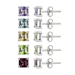Glitzy Rocks Sterling Silver 6 1/2ct TGW Multi-gemstone Earrings (Set of 5)