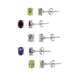 Glitzy Rocks Sterling Silver Multi-gemstone Oval Earring Studs (Set of 5)