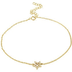 Icz Stonez 18k Gold/ Sterling Silver Cubic Zirconia Star Anklet