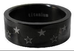 Men's Titanium Black-plated Star Ring