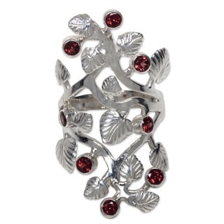 Sterling Silver and Garnet 'Forest' Cocktail Ring (Indonesia)