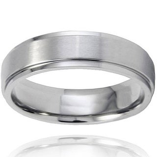 West Coast Jewelry Men's Brushed-and-polished Titanium Ring with Comfort-fit Band