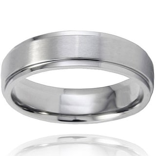 Men's Brushed-and-polished Titanium Ring with Comfort-fit Band