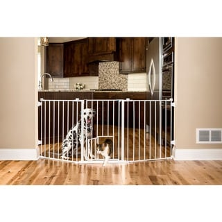 Carlson Beige Flexi Walk Through Chew Proof Easy to Install Pet Gate
