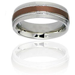 Espresso-Plated Stainless-Steel Ring with Milligrain Stripes