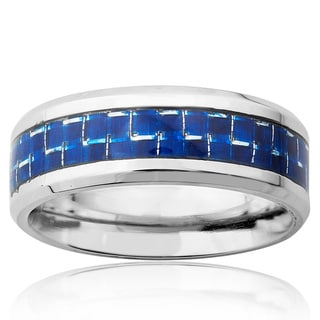 Stainless Steel Blue Carbon Fiber Inlay Ring