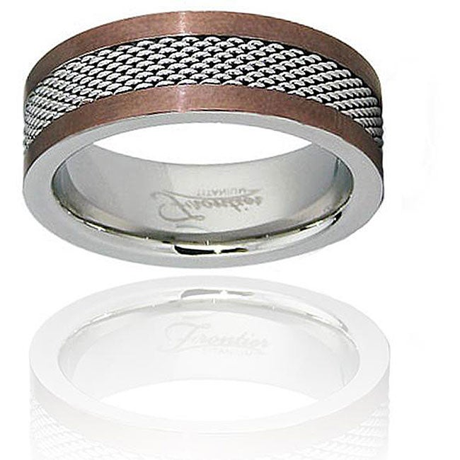 Espresso-Plated Stainless-Steel Ring with Mesh Center