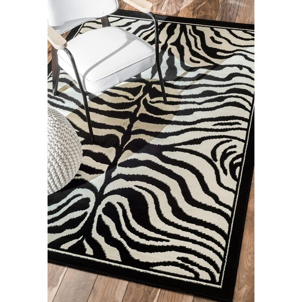 nuLOOM Zebra Animal Print Black/ White Rug (7'10 x 10'10)