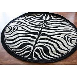 nuLOOM Zebra Animal Print Black/ White Rug (6' Round)