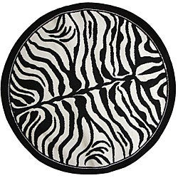nuLOOM Zebra Animal Print Black/ White Rug (5' 3 Round)