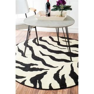 nuLOOM Zebra Animal Print Black/ Ivory Rug (6' Round)