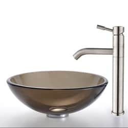 Kraus Brown Clear Glass Vessel Sink and Aldo Steel Faucet