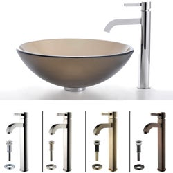 Antiqued Kraus Frosted Glass Sink and Ramus Bathroom Faucet