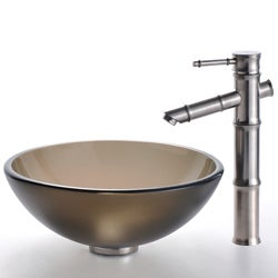 Kraus Brown Frosted Glass Sink and Bamboo-style Faucet