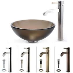 Kraus Frosted Brown Glass Sink and Ramus Faucet