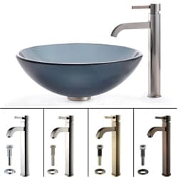 Kraus Frosted Glass Sink and Ramus Bathroom Faucet