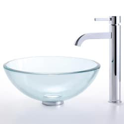 Kraus Clear 14-inch Glass Vessel Sink and Ramus Faucet