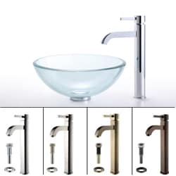 Kraus 14-inch Clear Glass Sink and Ramus Bathroom Faucet