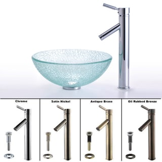 Kraus Broken Glass 14 -inch Vessel Sink and Sheven Faucet