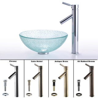 Kraus Broken Glass Vessel Sink and Sheven Bathroom Faucet
