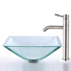 Kraus Aquamarine Clear Glass Sink and Stainless Steel Faucet