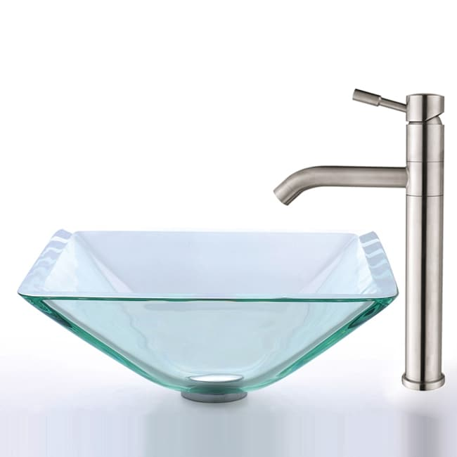 Kraus Clear Glass Aquamarine Sink and Steel Faucet