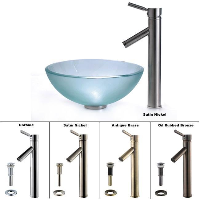 Kraus Frosted 14 -inch Glass Vessel Sink/Sheven Faucet-Chrome