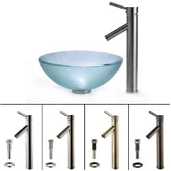Kraus Frosted Glass Sink and Sheven Bathroom Faucet