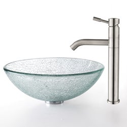 Kraus Broken Glass 14-inch Vessel Sink and Steel Faucet