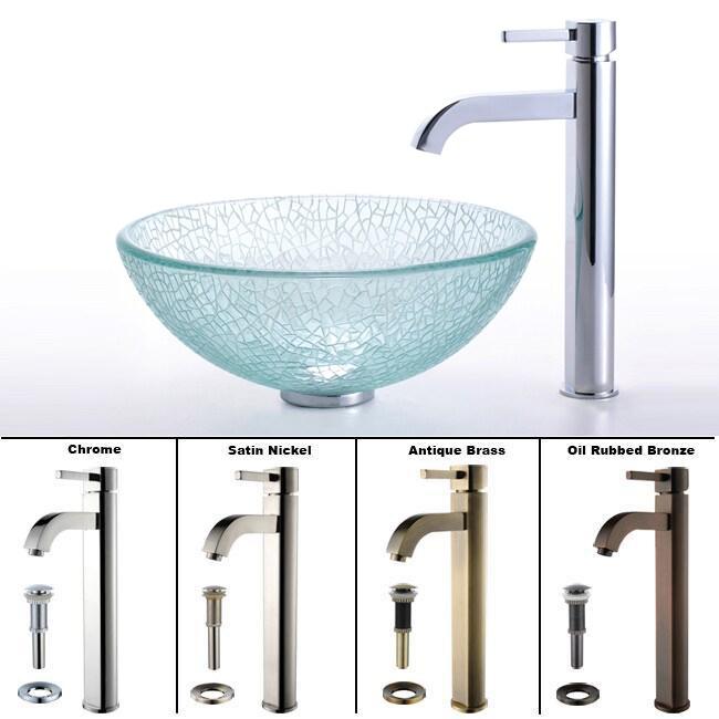 Kraus Mosaic Broken Glass Vessel Sink and Ramus Faucet