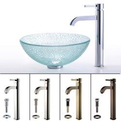 Kraus Mosaic Broken Glass Vessel Sink and Ramus Faucet
