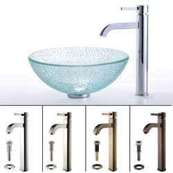 Kraus Broken Glass Sink and Ramus Contemporary Bathroom Faucet
