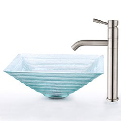 Kraus Square Clear Alexandrite Glass Sink and Steel Faucet