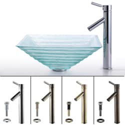 Kraus Alexandrite Glass Sink and Sheven Bathroom Faucet