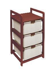 Cherry Three Drawer Hamper and Storage Unit