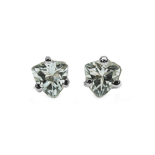 Malaika Sterling Silver Trillion-cut Aquamarine Stud Earrings