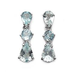 Malaika Sterling Silver Aquamarine 3-stone Dangle Earrings