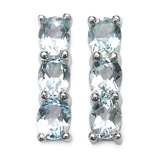 Malaika Sterling Silver Oval-cut Aquamarine 3-stone Drop Earrings