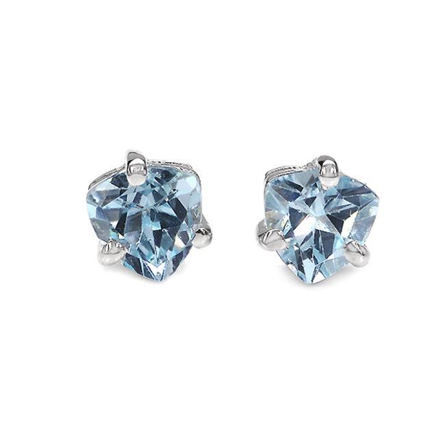 Malaika Sterling Silver Trillion-cut Blue Topaz Stud Earrings